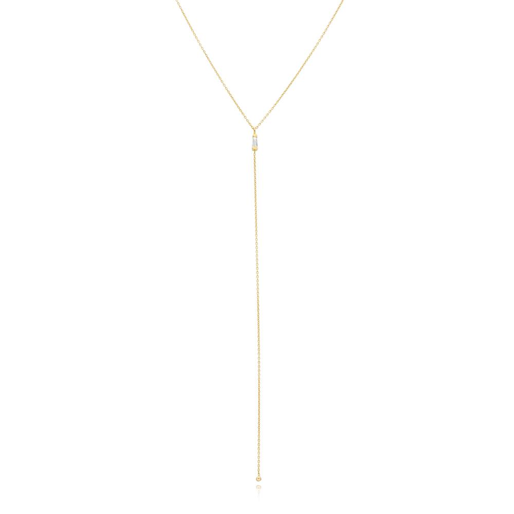 Diamond 0.15 Carat Y Design Minimal Turkish Wholesale 14k Gold Necklace