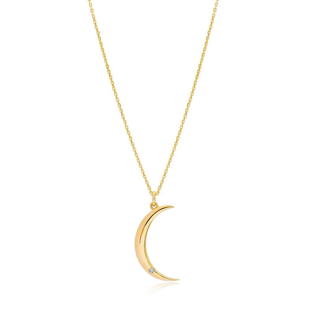 Moon Design 0.01 Carat Diamond Turkish Wholesale 14k Gold Necklace
