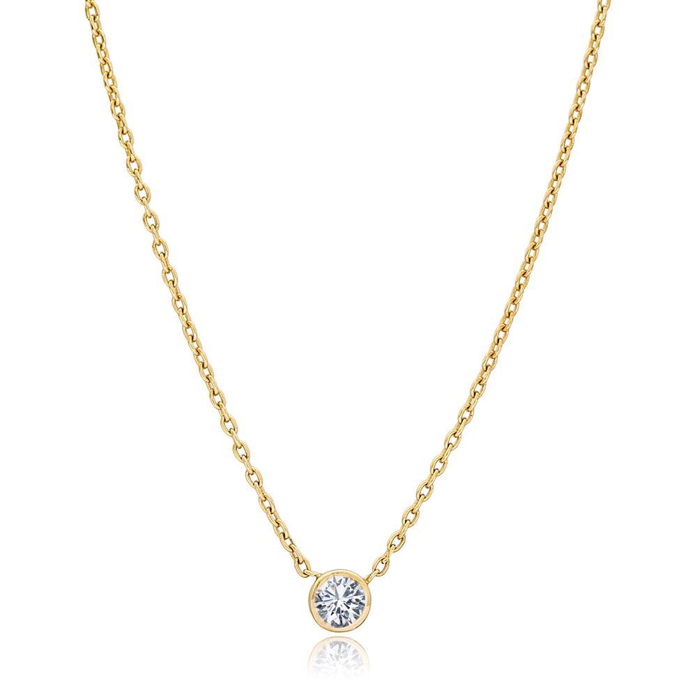 Round Design 0.19 Carat Diamond Turkish Wholesale 14k Gold Necklace