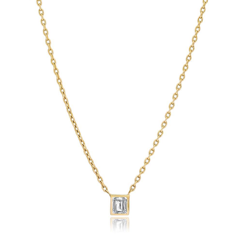 Diamond 0.16 Carat Square Design Turkish Wholesale 14k Gold Necklace
