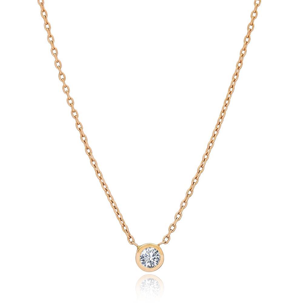 0.18 Carat Diamond Round Design Turkish Wholesale 14k Gold Necklace