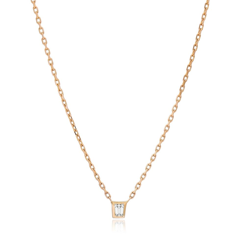 Dainty Design Turkish 0.05 Carat Diamond Wholesale 14k Gold Necklace