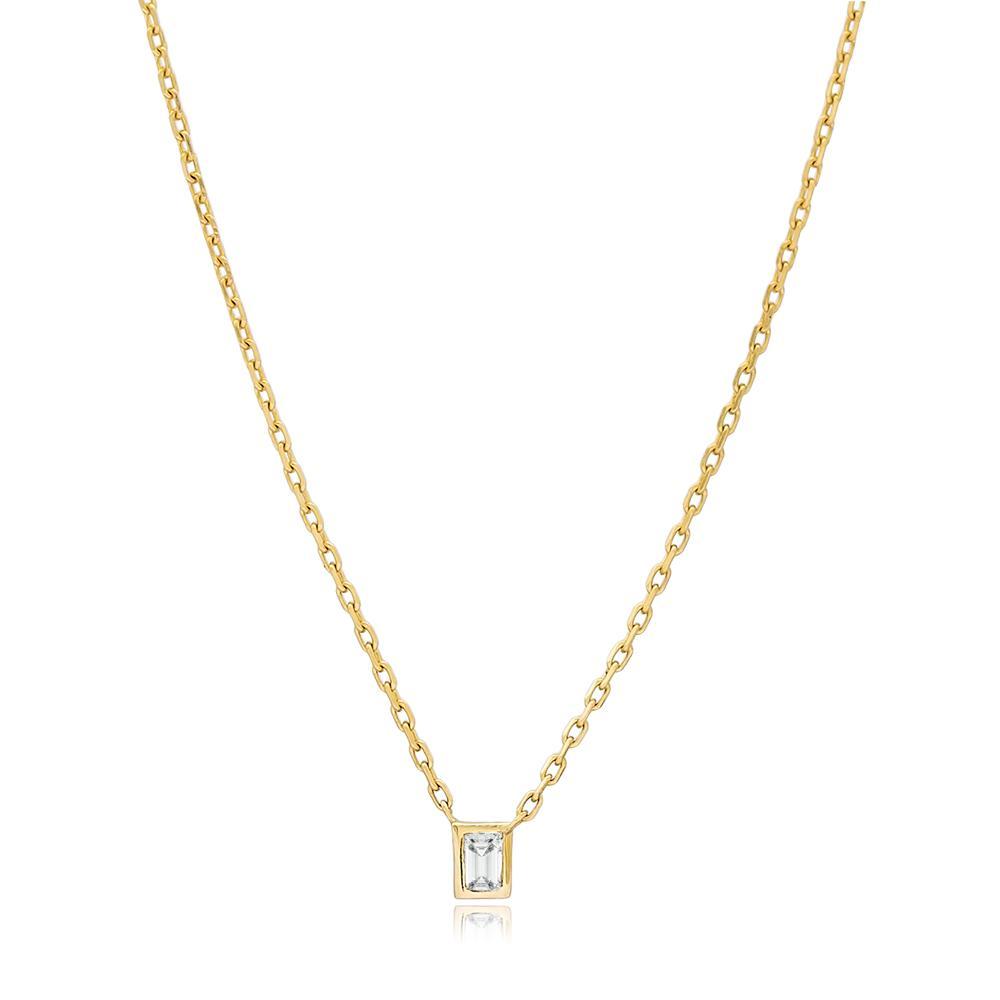 Rectangle Design 0.05 Carat Diamond Turkish Wholesale 14k Gold Necklace