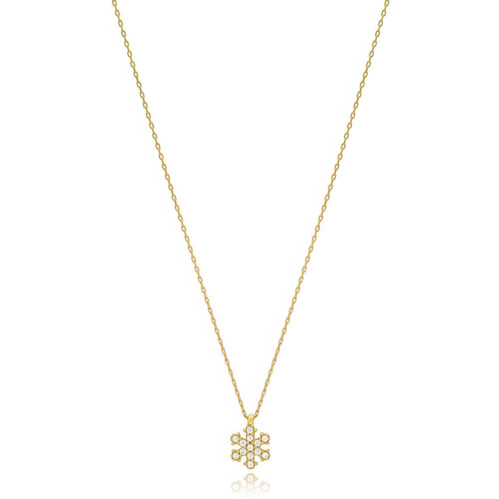 Minimal Snowflake Wholesale Turkish 14k Gold Pendant