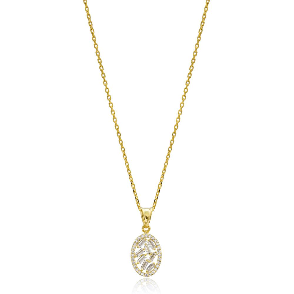 Oval Shape Design Wholesale Turkish 14k Gold Necklace