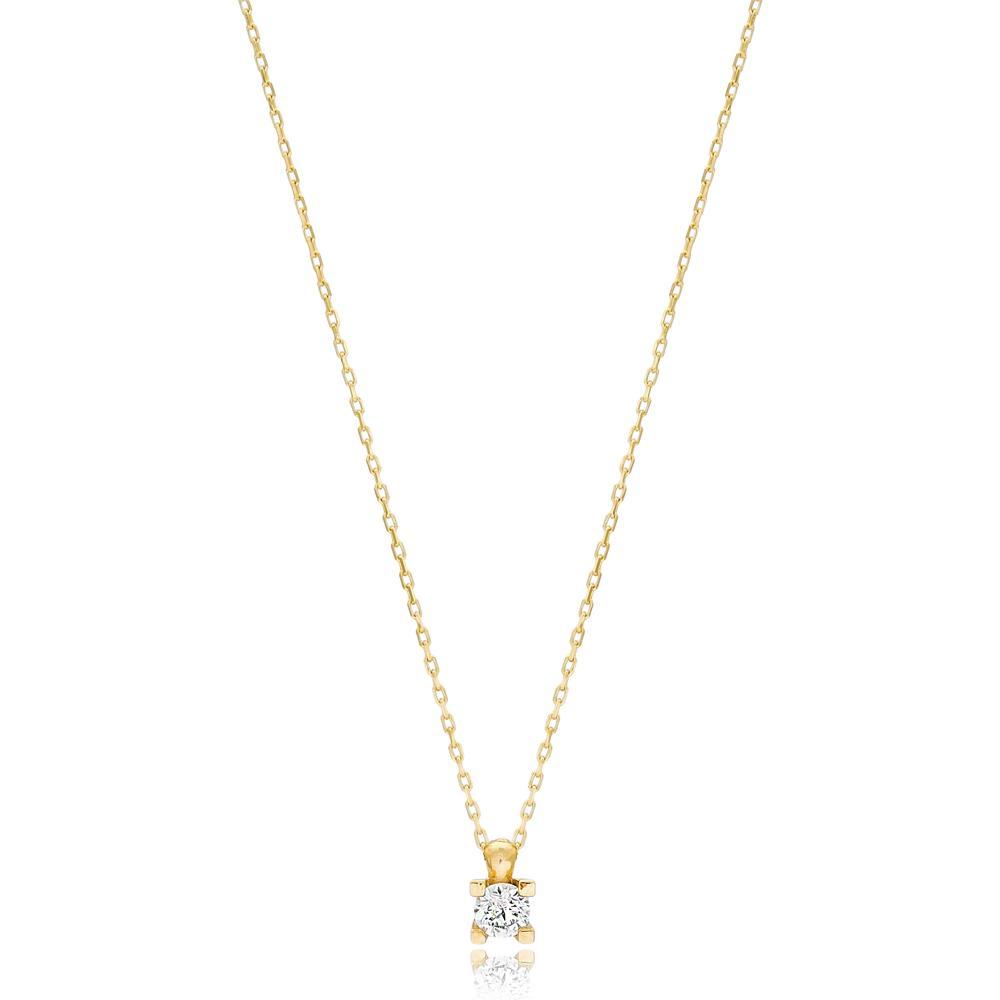 Solitared Design Wholesale Turkish 14k Gold Necklace