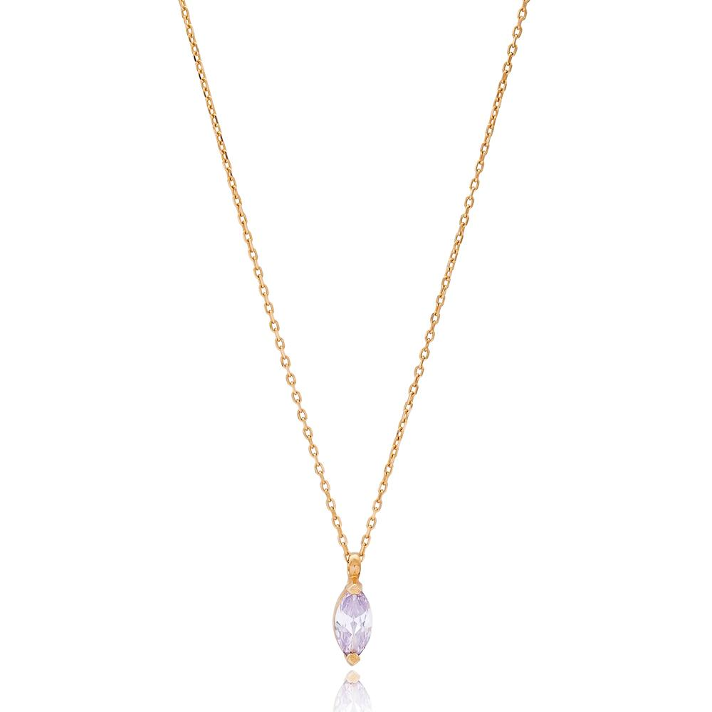 Marquise Solitared Design Wholesale Turkish 14k Gold Necklace