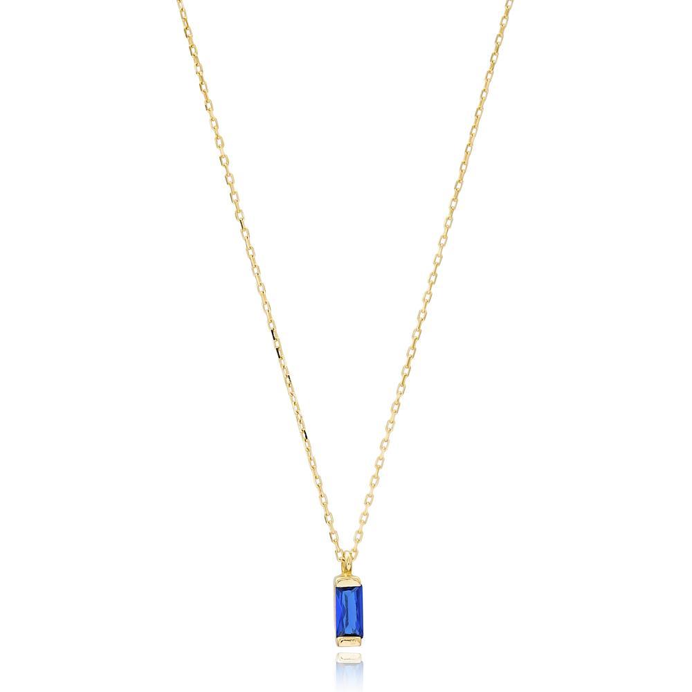 Baguette Solitared Design Wholesale Turkish 14k Gold Necklace