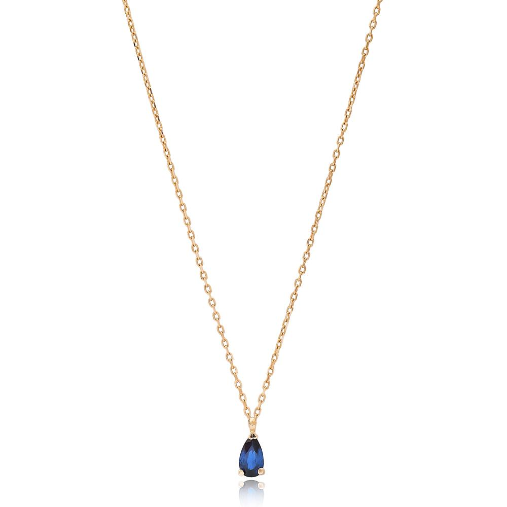 Pear Solitared Wholesale Turkish 14k Gold Necklace
