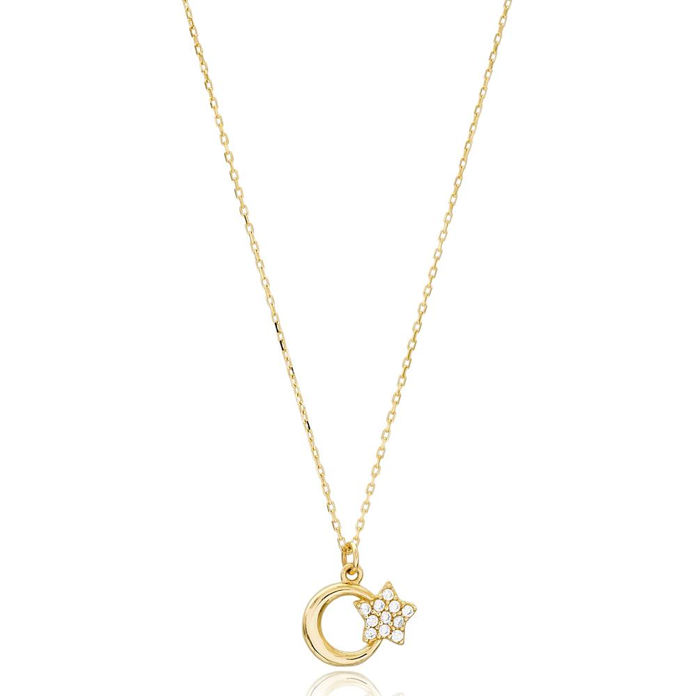 Moon And Star Design Wholesale 14k Gold Necklace