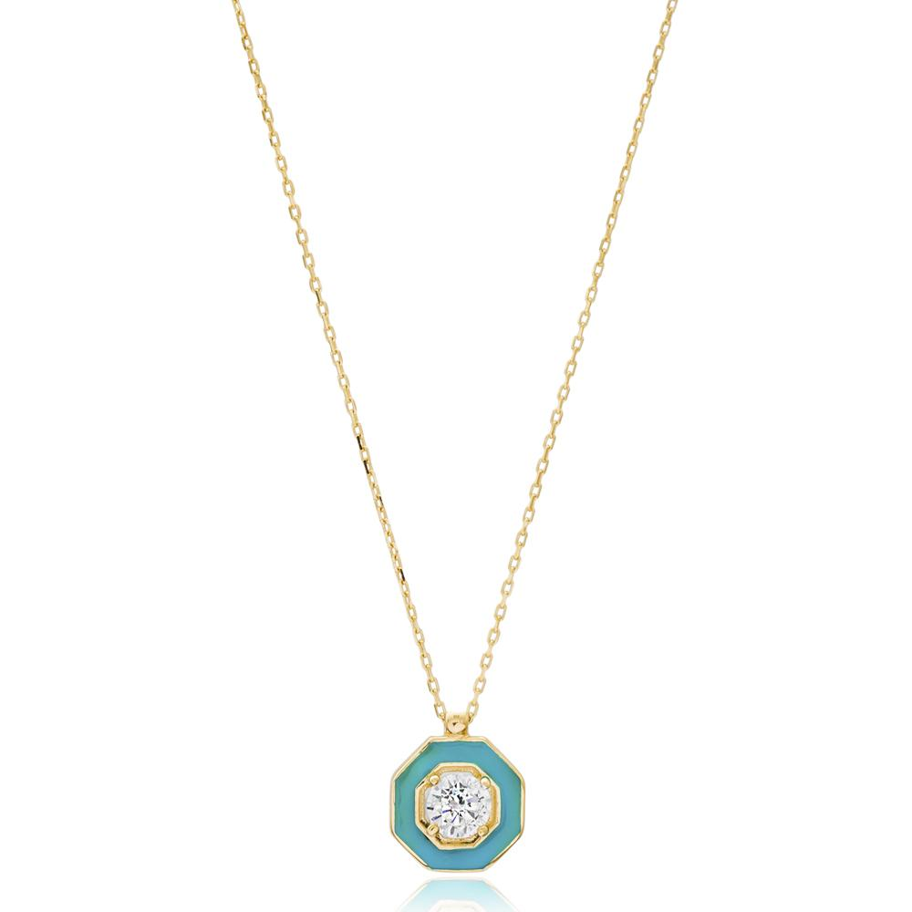 Enamel And Solitaire Turkish Wholesale 14k Gold Necklace