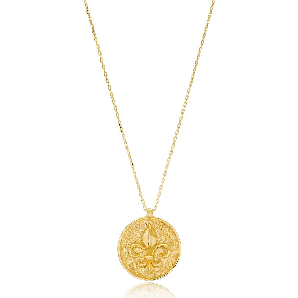 French Lily Flower Turkish Wholesale Handmade 14k Gold Necklace