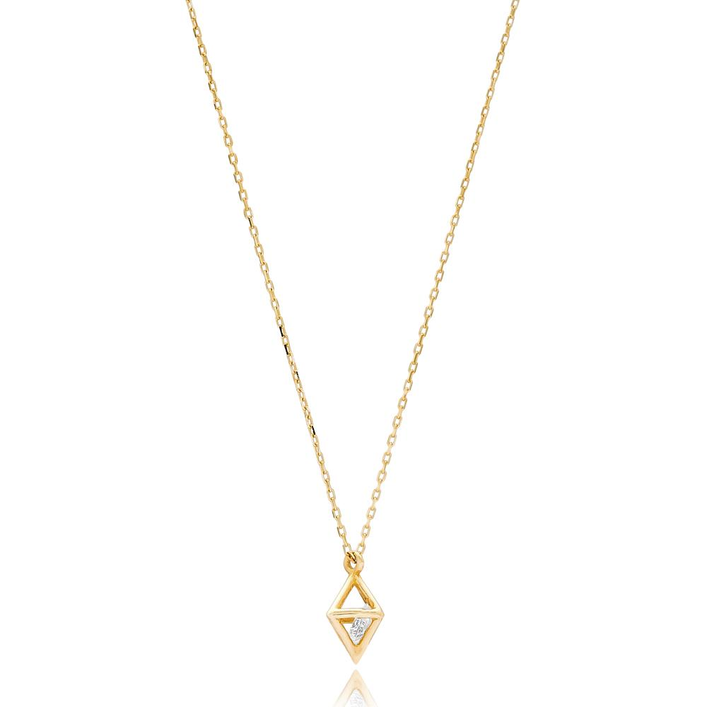 Crystal In Square Cube Wholesale Handmade 14k Gold Necklace