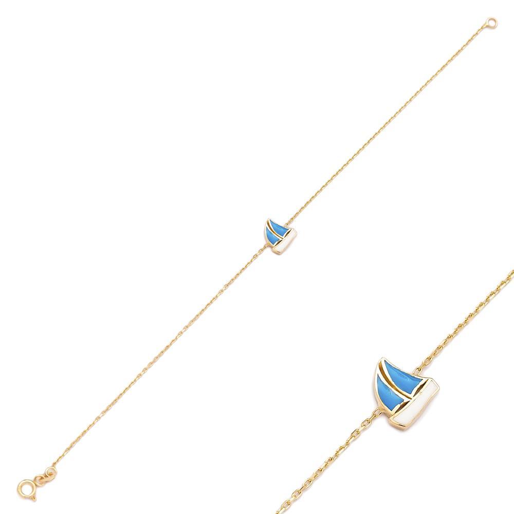 Boat Charm Turkish Wholesale 14k Gold Bracelet