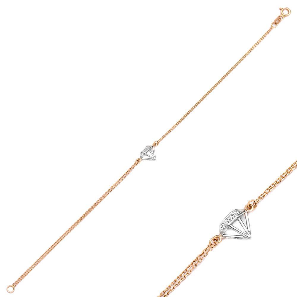 Dimond Shape Turkish Wholesale 14k Gold Bracelet