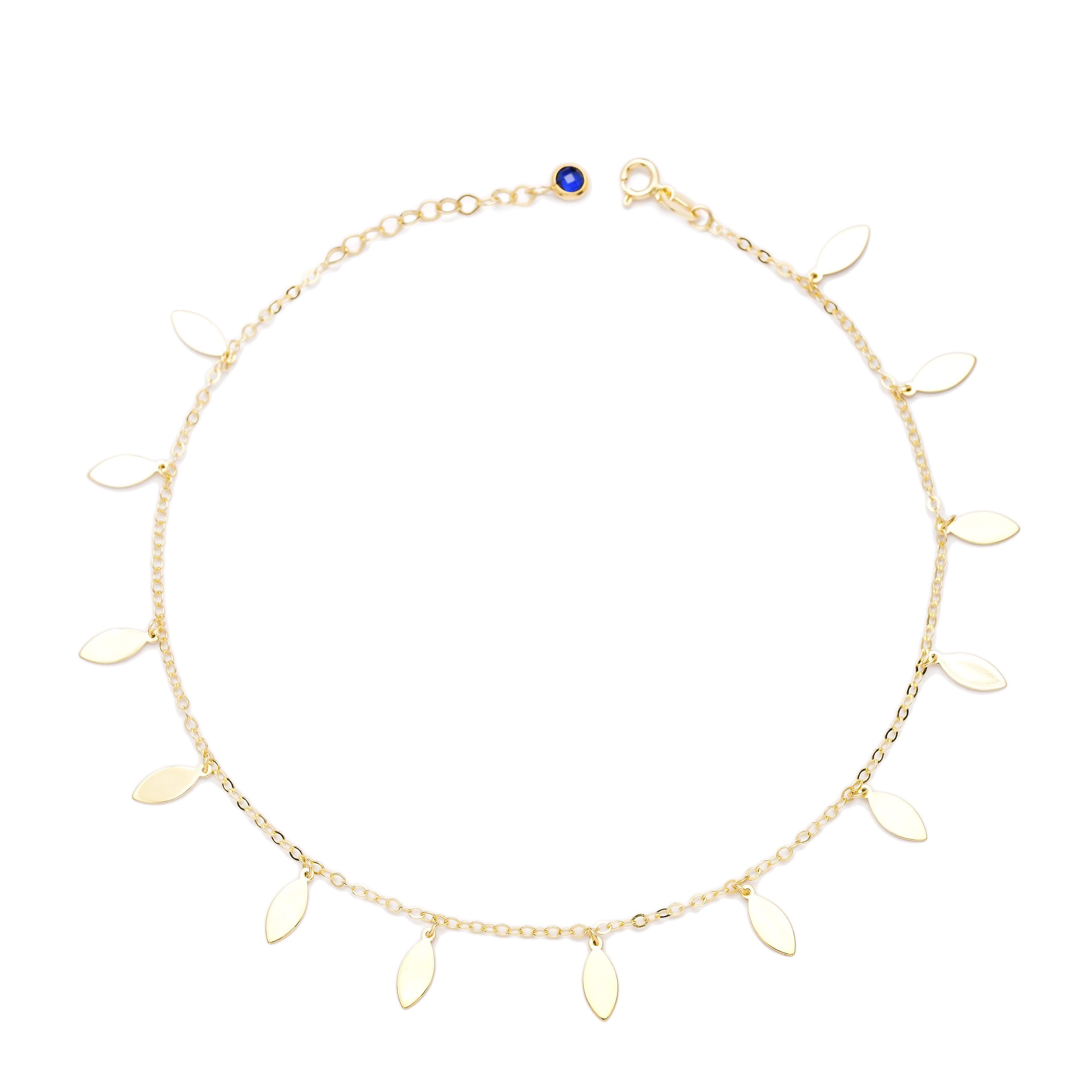 Shaker Almond Shape 10k Gold Anklet Turkish Wholesale Gold Jewelry