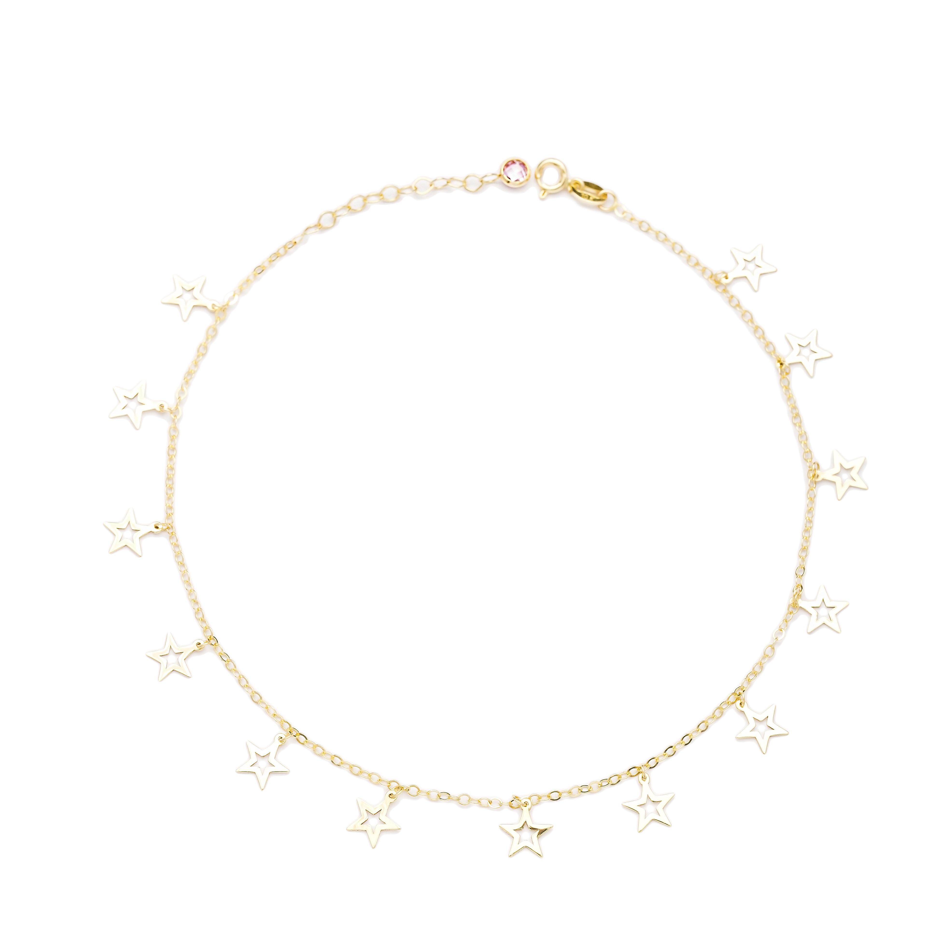 Shaker Minimalist Hollow Star Shape 10k Gold Anklet Turkish Wholesale Gold Jewelry