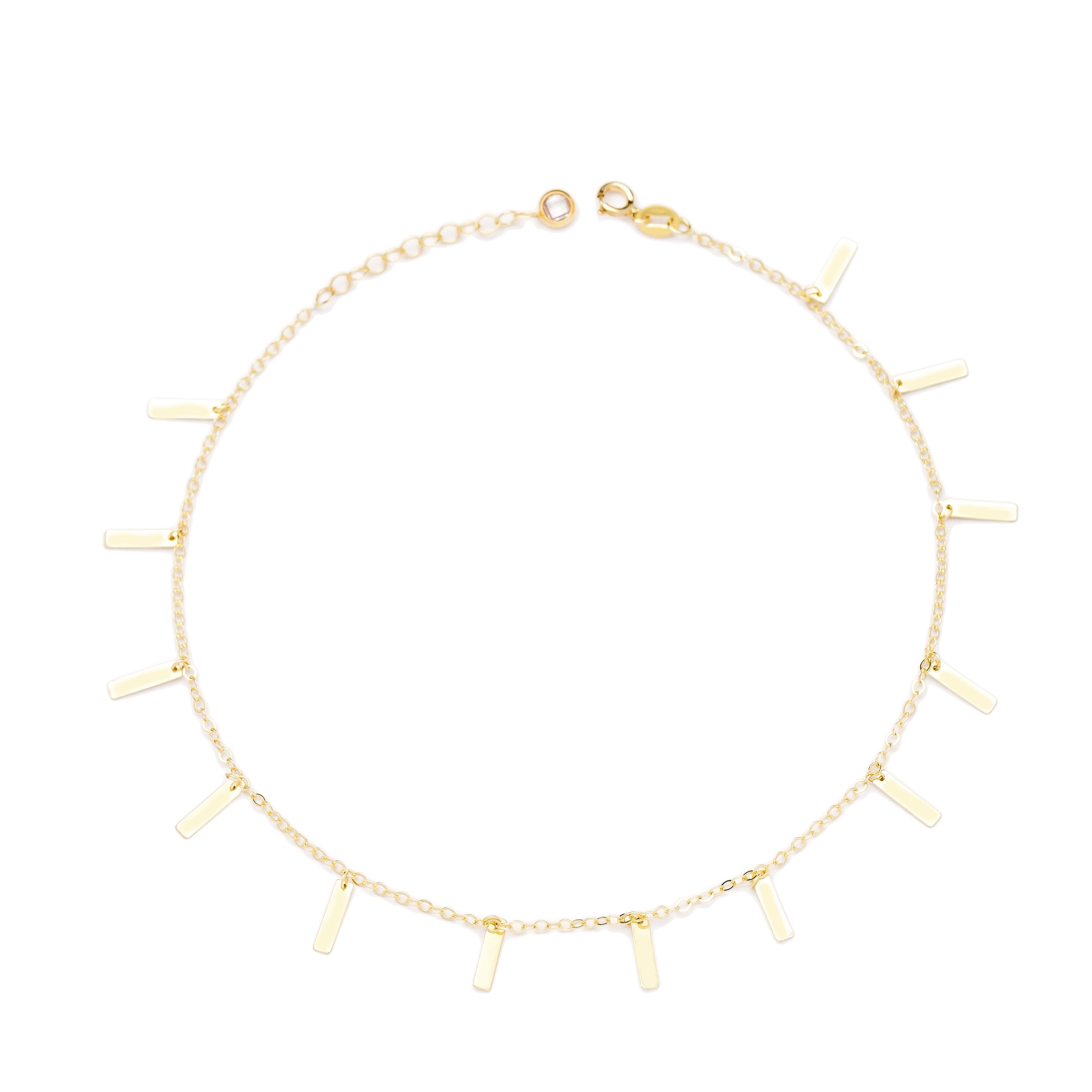 Shaker Minimalist Shape 10k Gold Anklet Turkish Wholesale Gold Jewelry