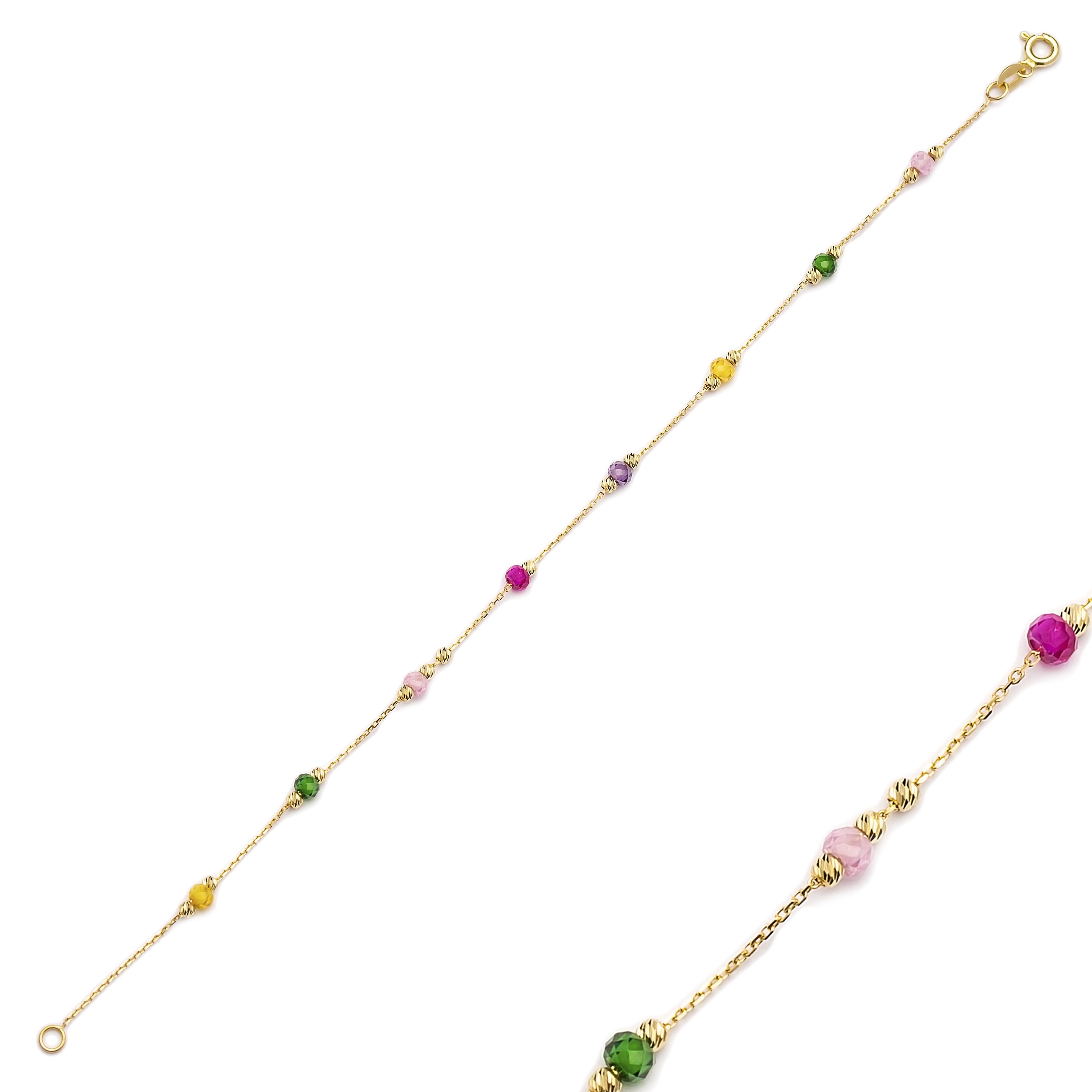 Dainty Elegant Colorful Turkish Wholesale 14k Gold Bracelet