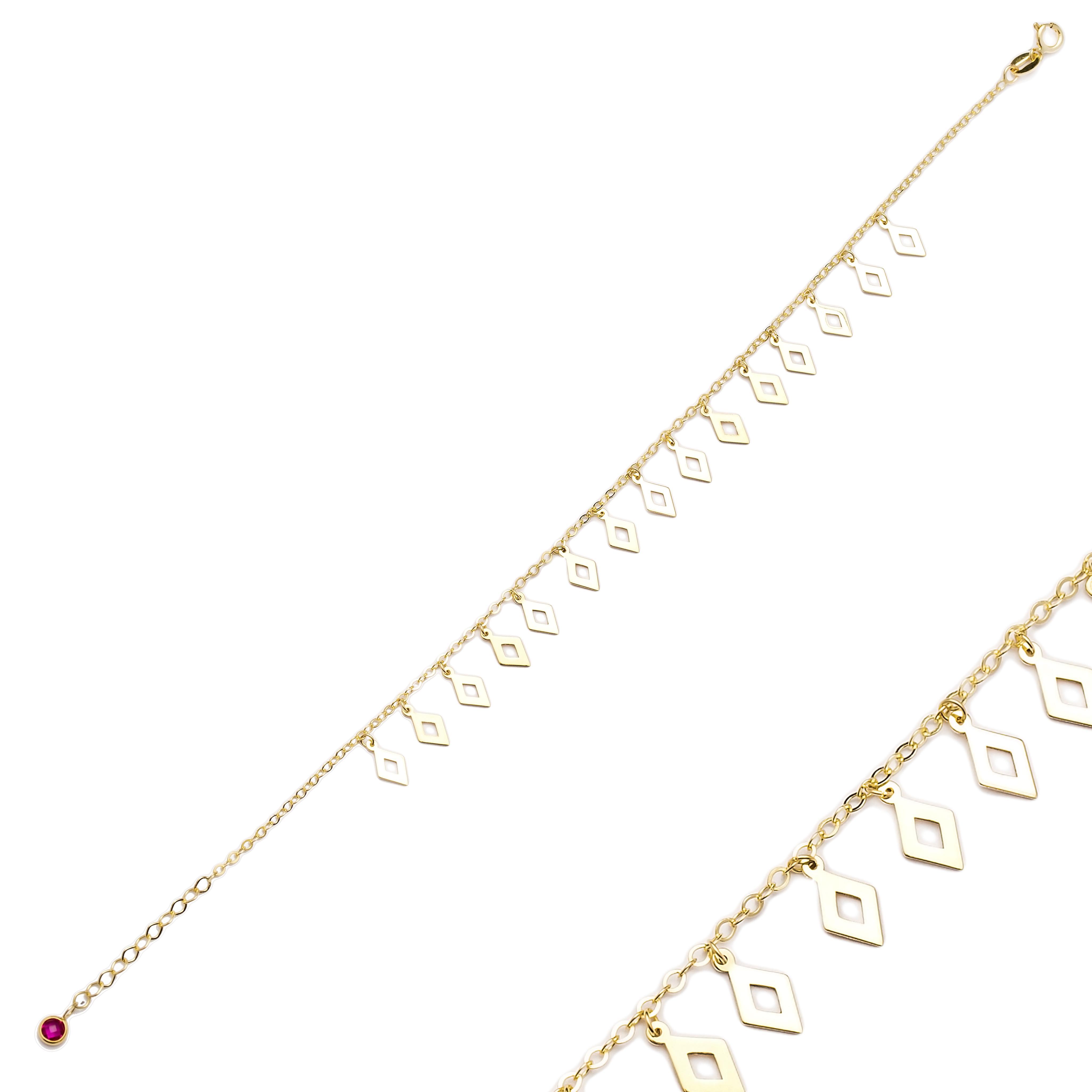 Wholesale Shaker Minimalist Rhombus Shape 10k Gold Bracelet