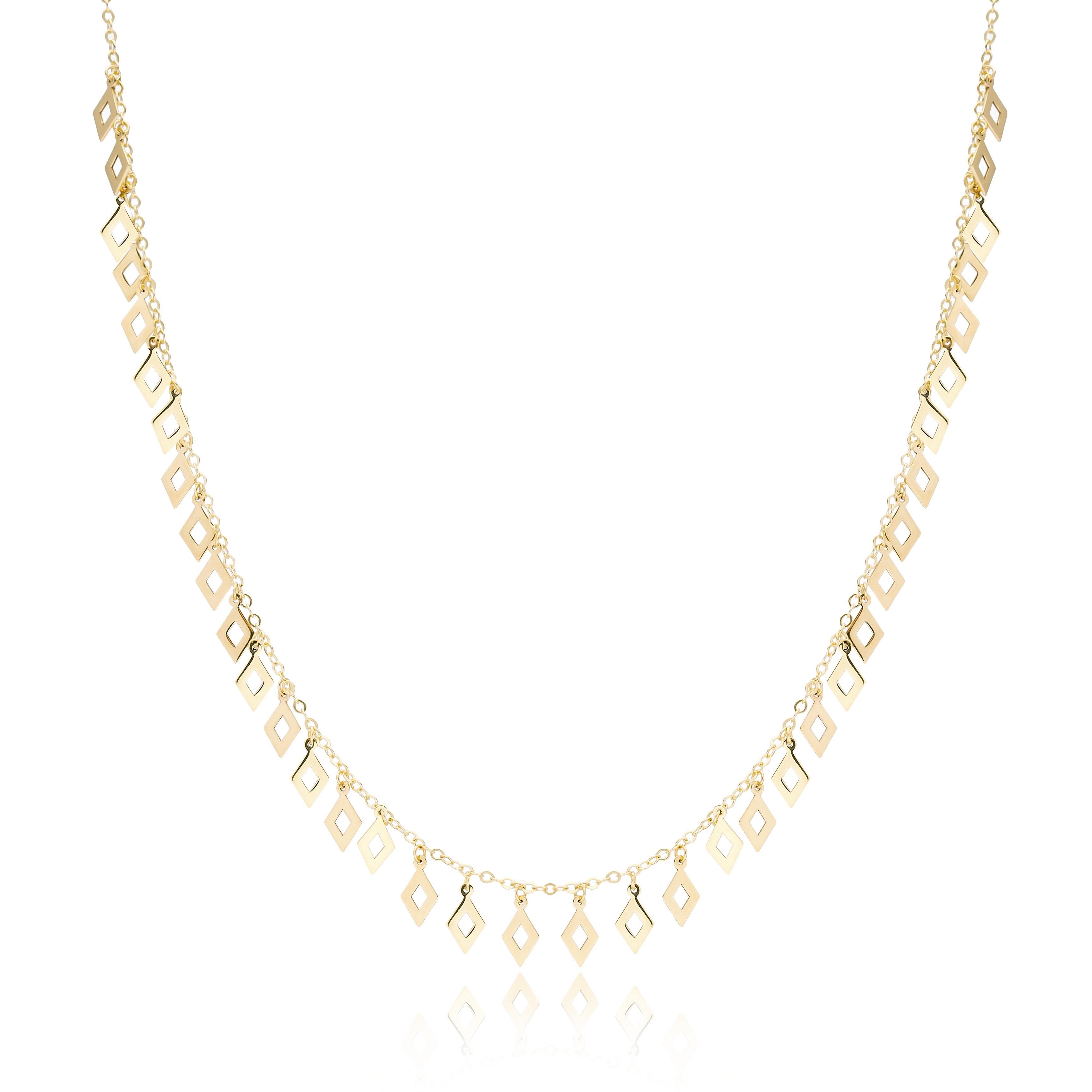 10K Gold Elegant Shaker Rhombus Pendant Wholesale Handmade Turkish Jewelry