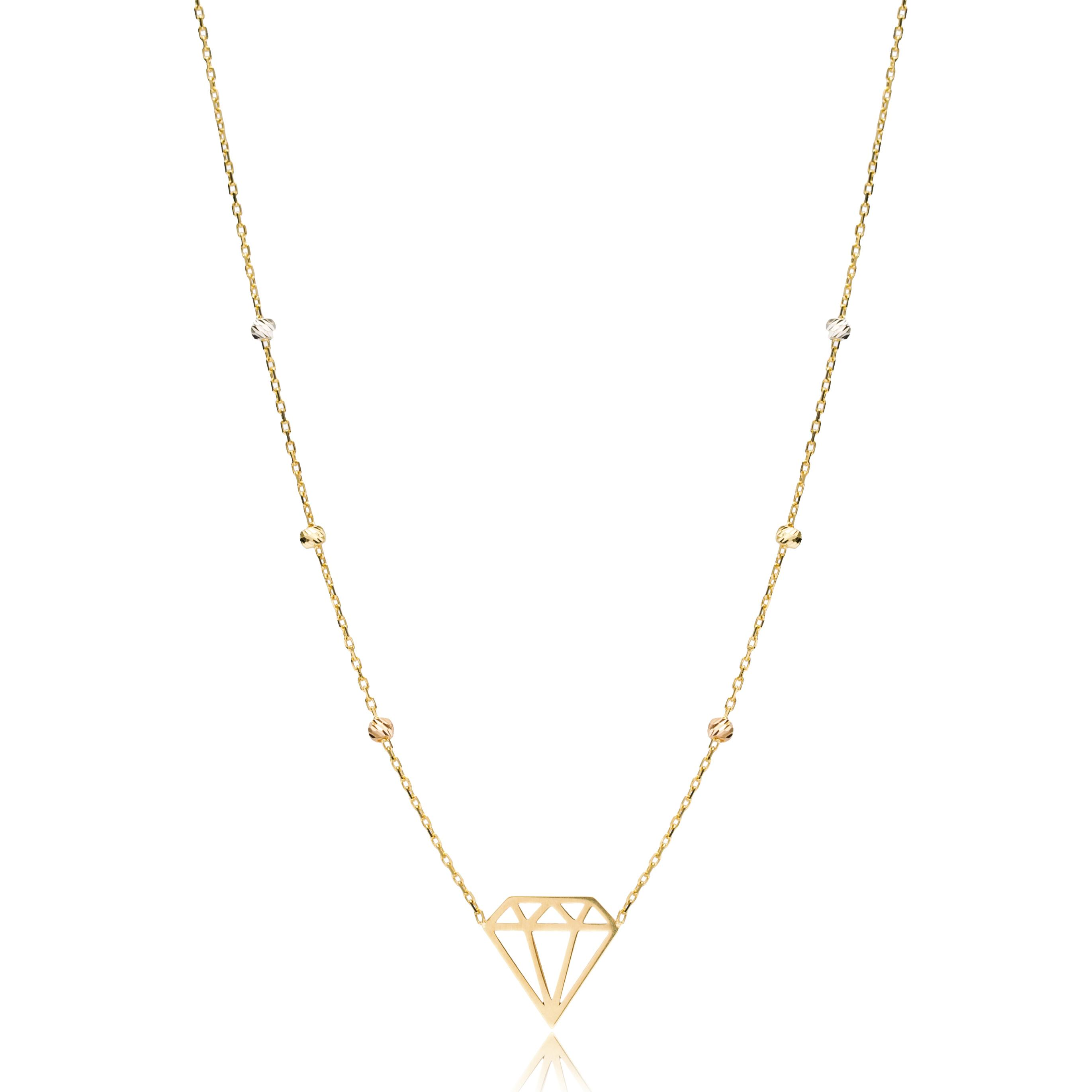 14K Gold Diamon Shape Necklace Wholesale Handmade Turkish Jewelry