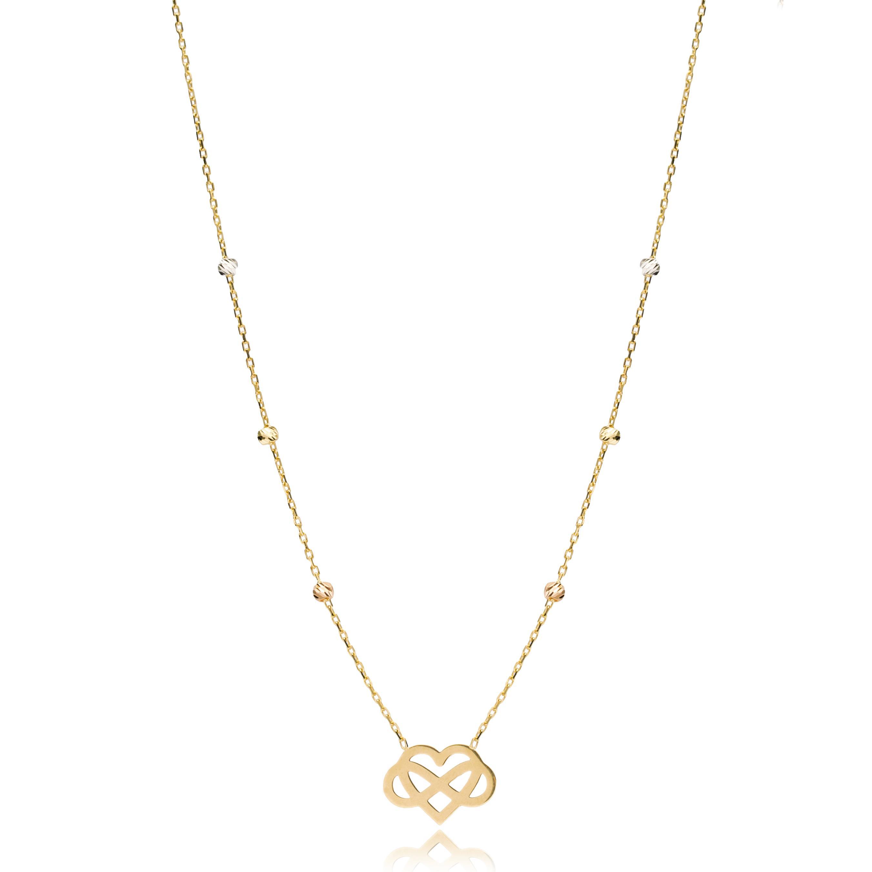 Heart And Infinity Charm Necklace Wholesale Handmade Turkish 14K Jewelry