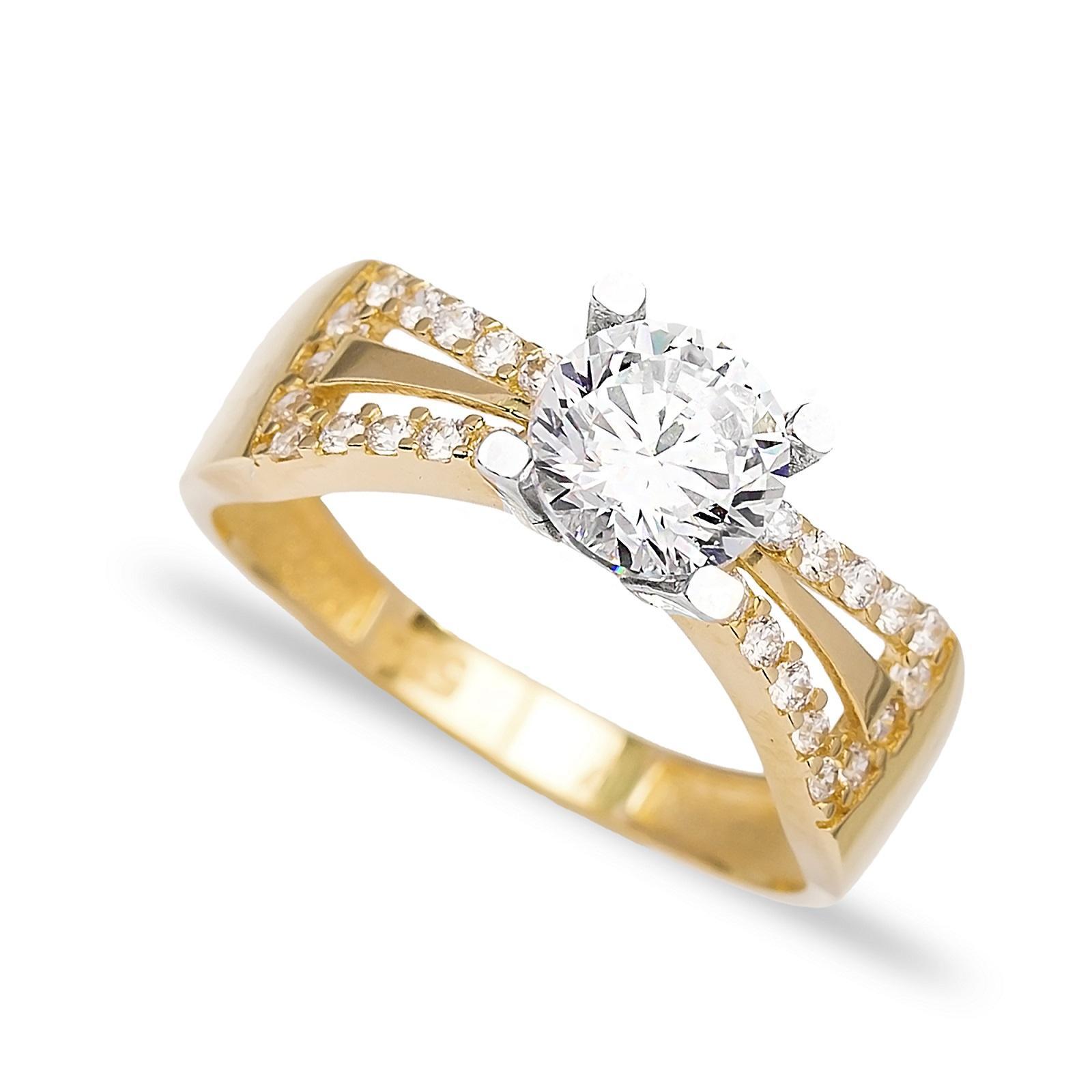 Engagement Solitaire 14 Karat Gold Zirconia 6 mm Wholesale Handmade Turkish Jewelry