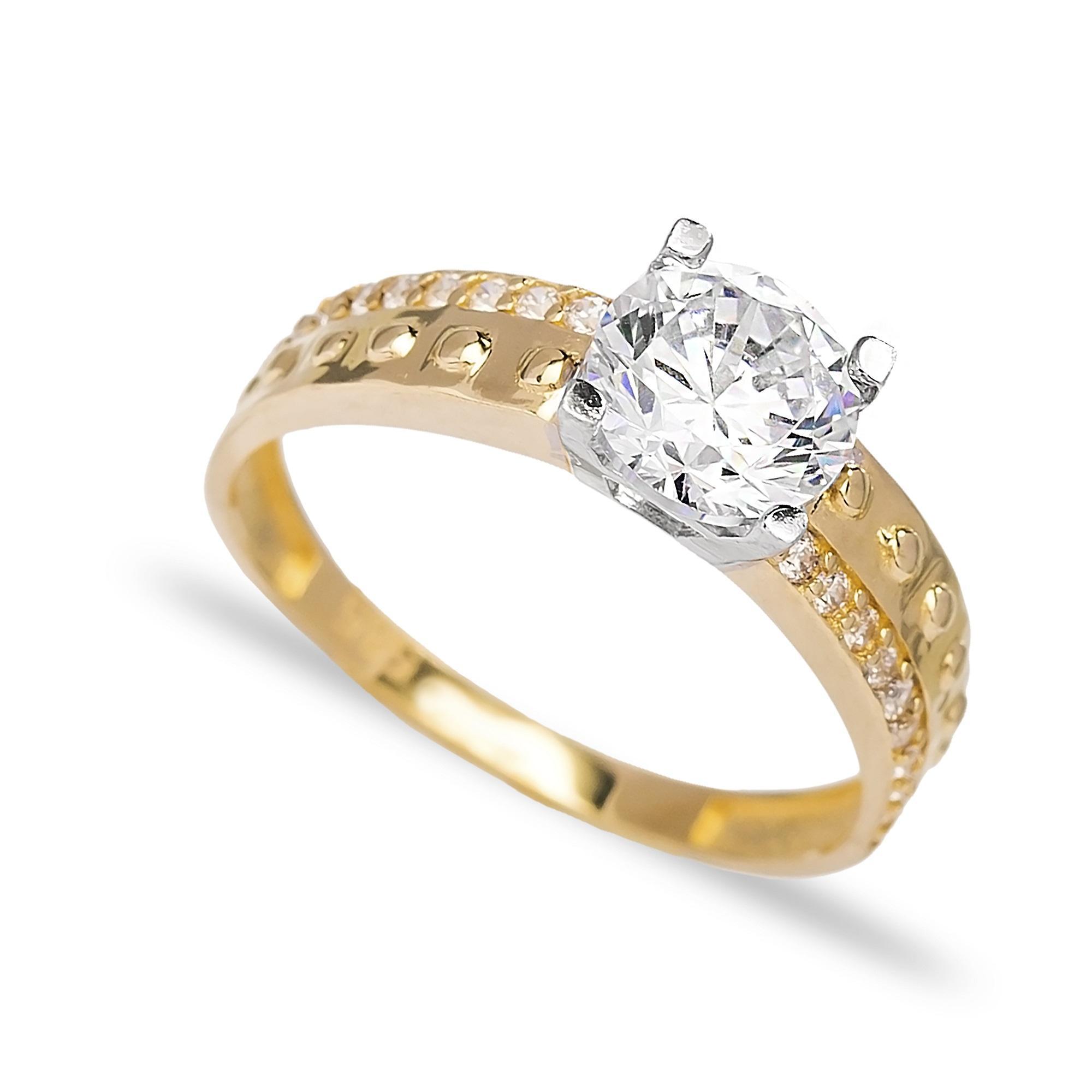 Engagement Solitaire 14 Karat Gold Zirconia 6.5mm Wholesale Handmade Turkish Jewelry