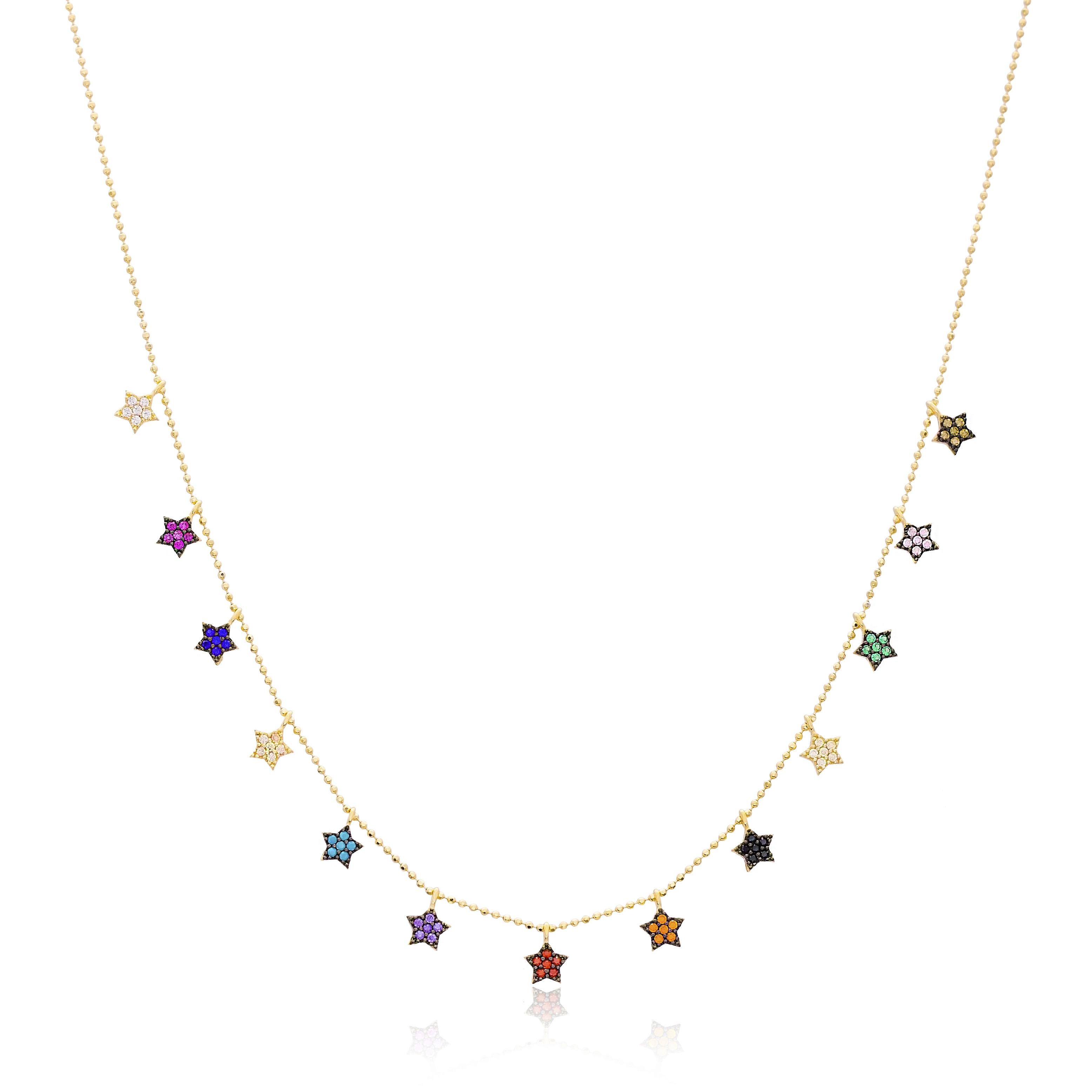 14K Gold Multi Color Stone Shaker Star Charm Pendant Wholesale Handmade Turkish Jewelry
