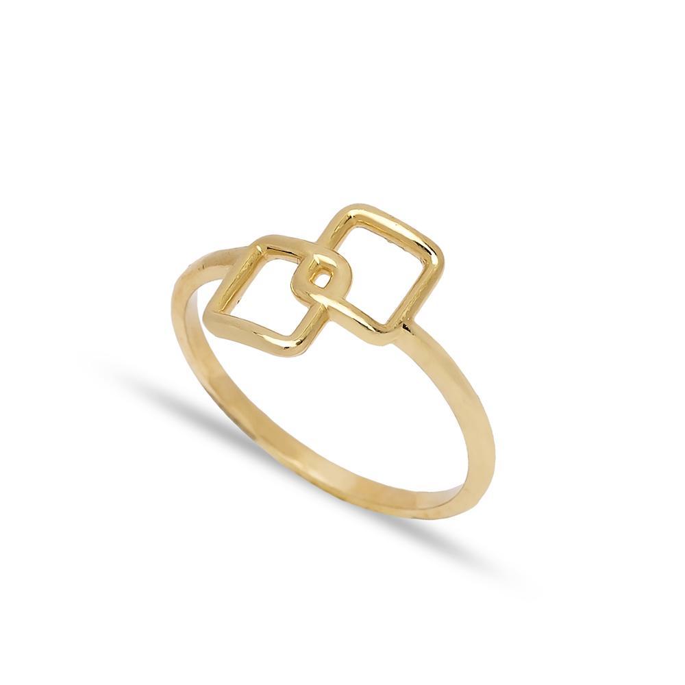 Square Design Ring 14 k Wholesale Handmade Turkish Gold Jewelry