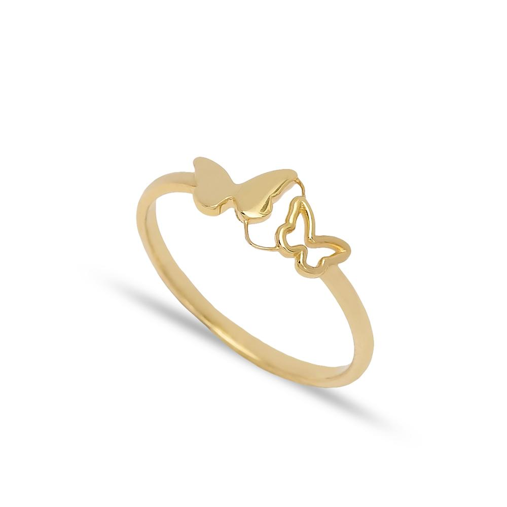 Dual Butterfly Design Ring 14 k Wholesale Handmade Turkish Gold Jewelry