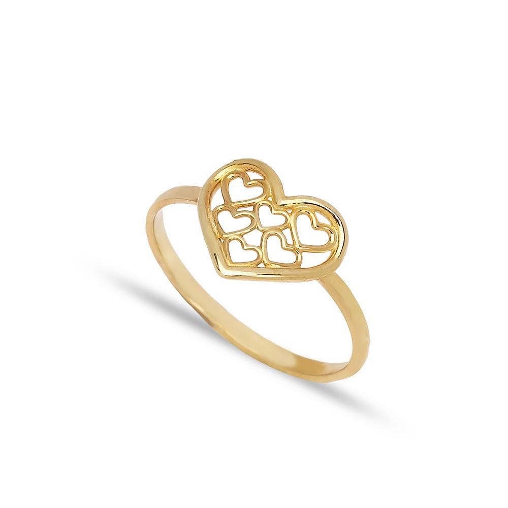 Multiple Heart Design Ring 14 k Wholesale Handmade Turkish Gold Jewelry