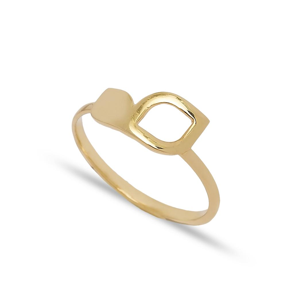Double Leaf Design Ring 14 k Wholesale Handmade Turkish Gold Jewelry