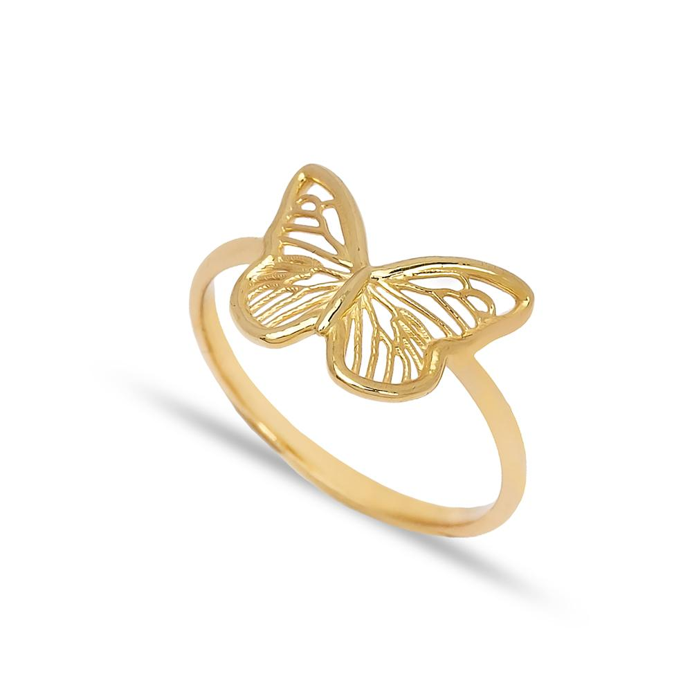 Butterfly Design Ring 14 k Wholesale Handmade Turkish Gold Jewelry