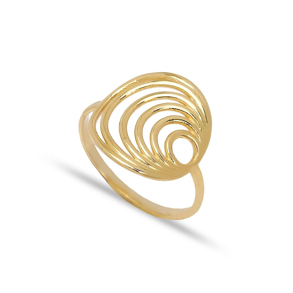 Multi Round Design Ring 14 k Wholesale Handmade Turkish Gold Jewelry