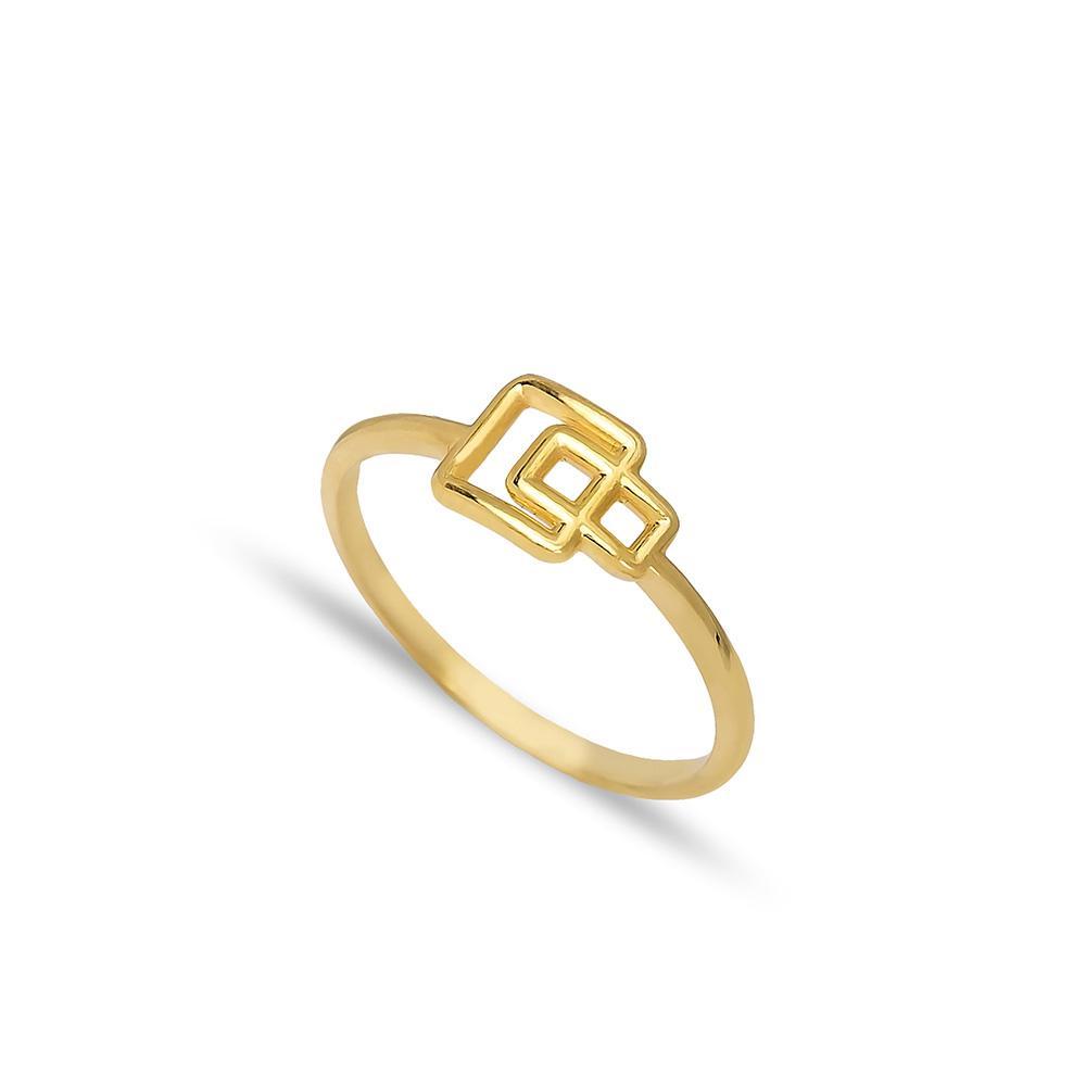 Square Geometric Shape Ring 14 k Wholesale Handmade Turkish Gold Jewelry