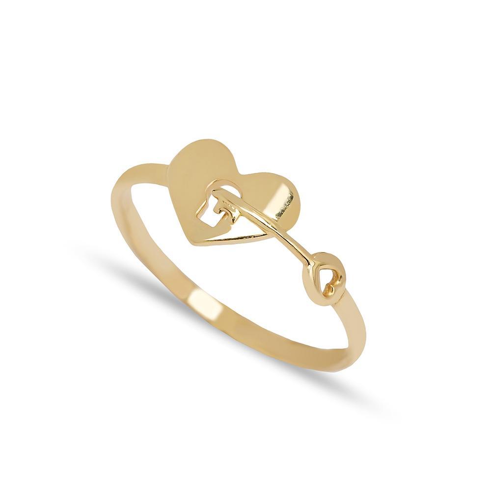 Heart And Key Design Ring 14 k Wholesale Handmade Turkish Gold Jewelry