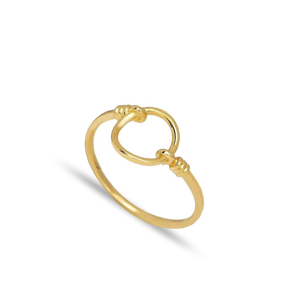 Hollow Circle Design Ring 14 k Wholesale Handmade Turkish Gold Jewelry