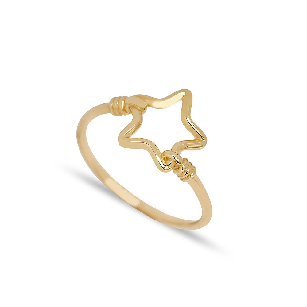 Hollow Star Design Ring 14 k Wholesale Handmade Turkish Gold Jewelry
