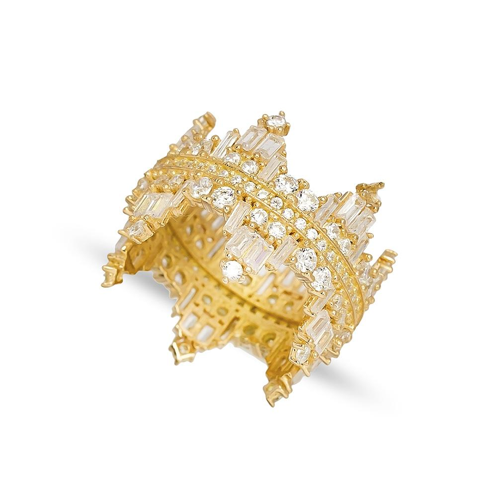 Baguette Stone Crown Band Ring 14 k Wholesale Handmade Turkish Gold Jewelry