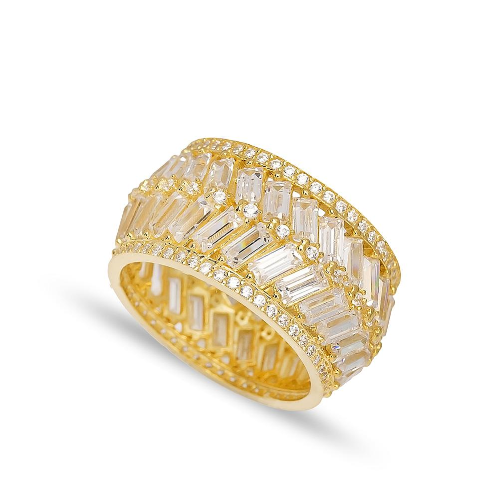 Baguette Stone Band Ring 14 k Wholesale Handmade Turkish Gold Jewelry