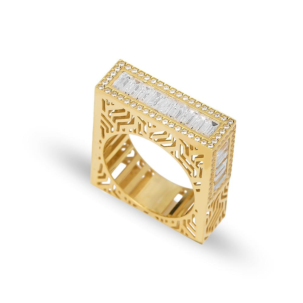 Baguette Band Ring 14 k Wholesale Handmade Turkish Gold Jewelry