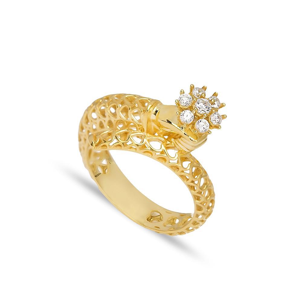 Flower In Hand Ring 14 k Wholesale Handmade Turkish Gold Jewelry