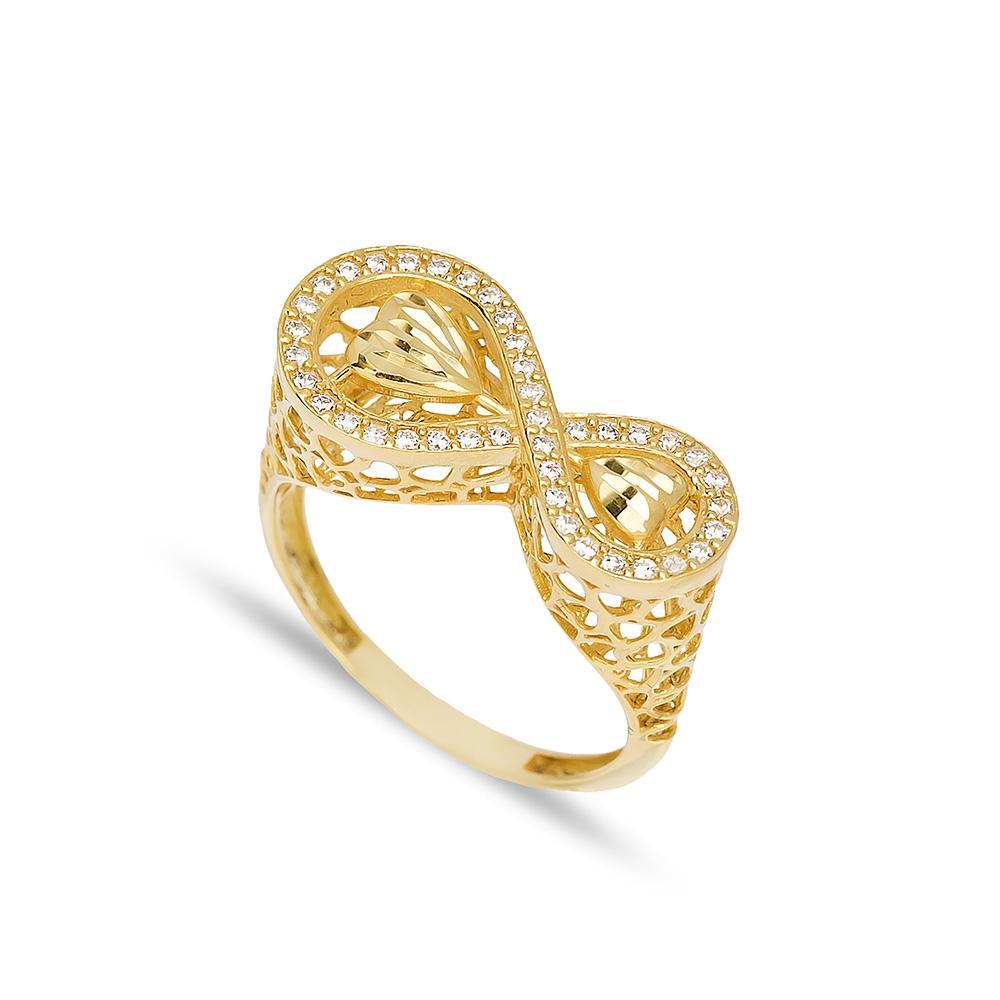 Infinity Shape Ring 14 k Wholesale Handmade Turkish Gold Jewelry