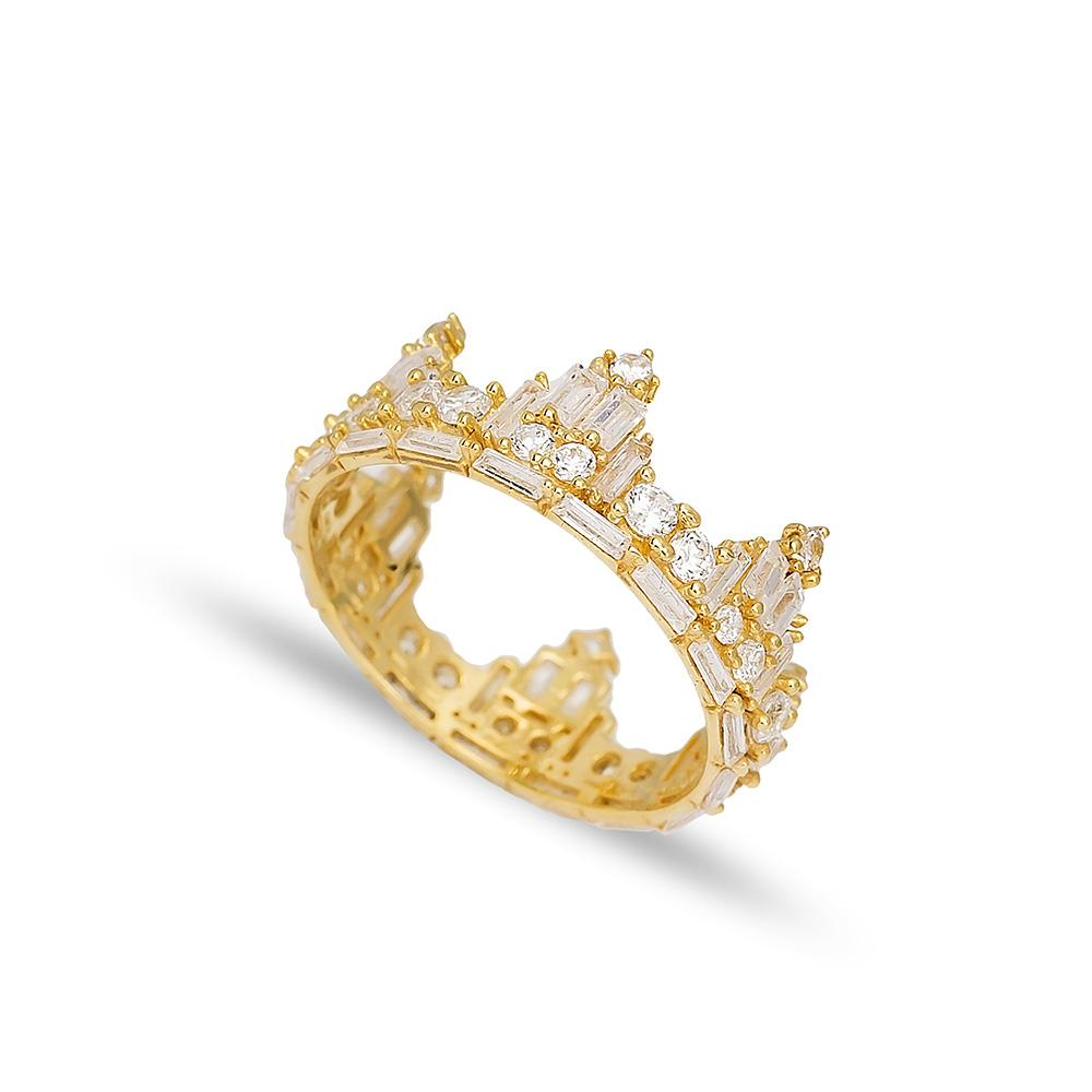 Crown Shape Ring 14 k Wholesale Handmade Turkish Gold Jewelry