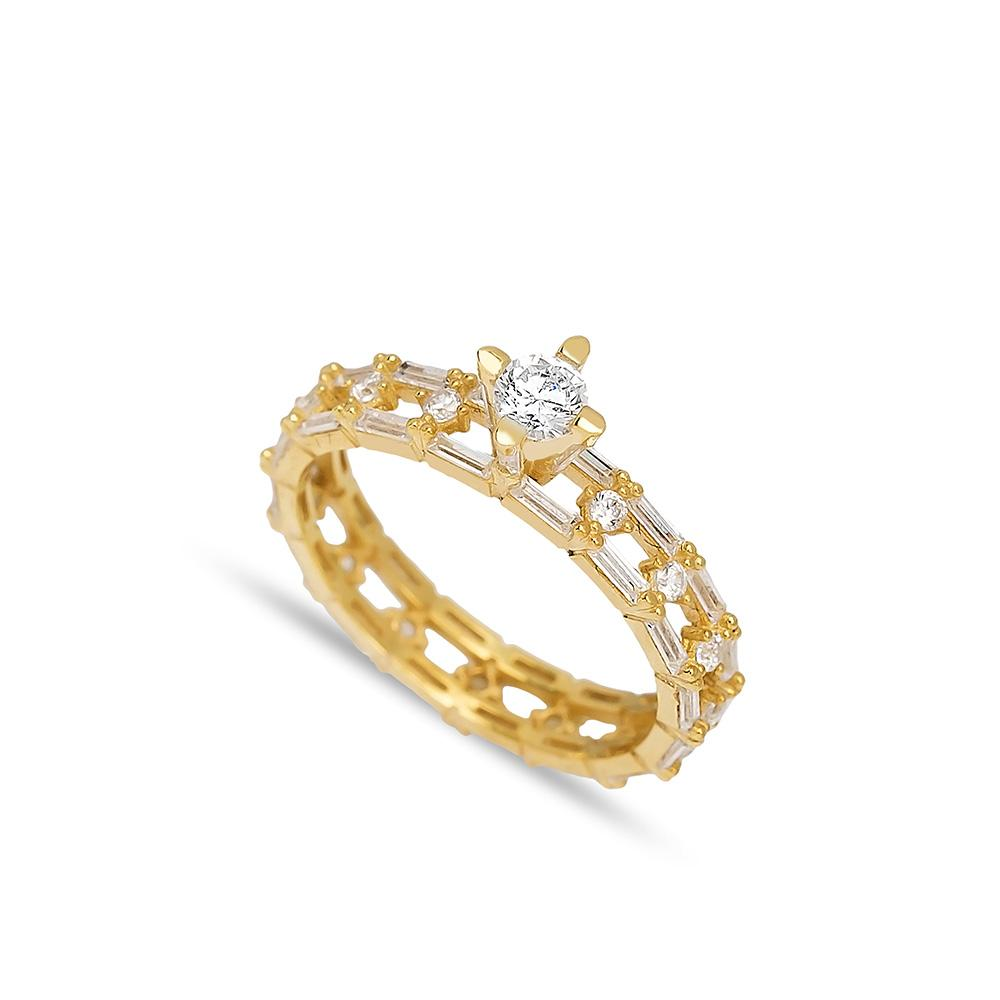 Solitaire Design Band Ring 14 k Wholesale Handmade Turkish Gold Jewelry