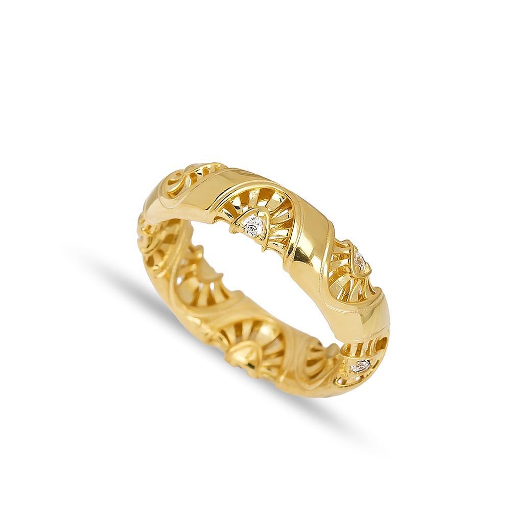 Band Ring 14 k Wholesale Handmade Turkish Gold Jewelry