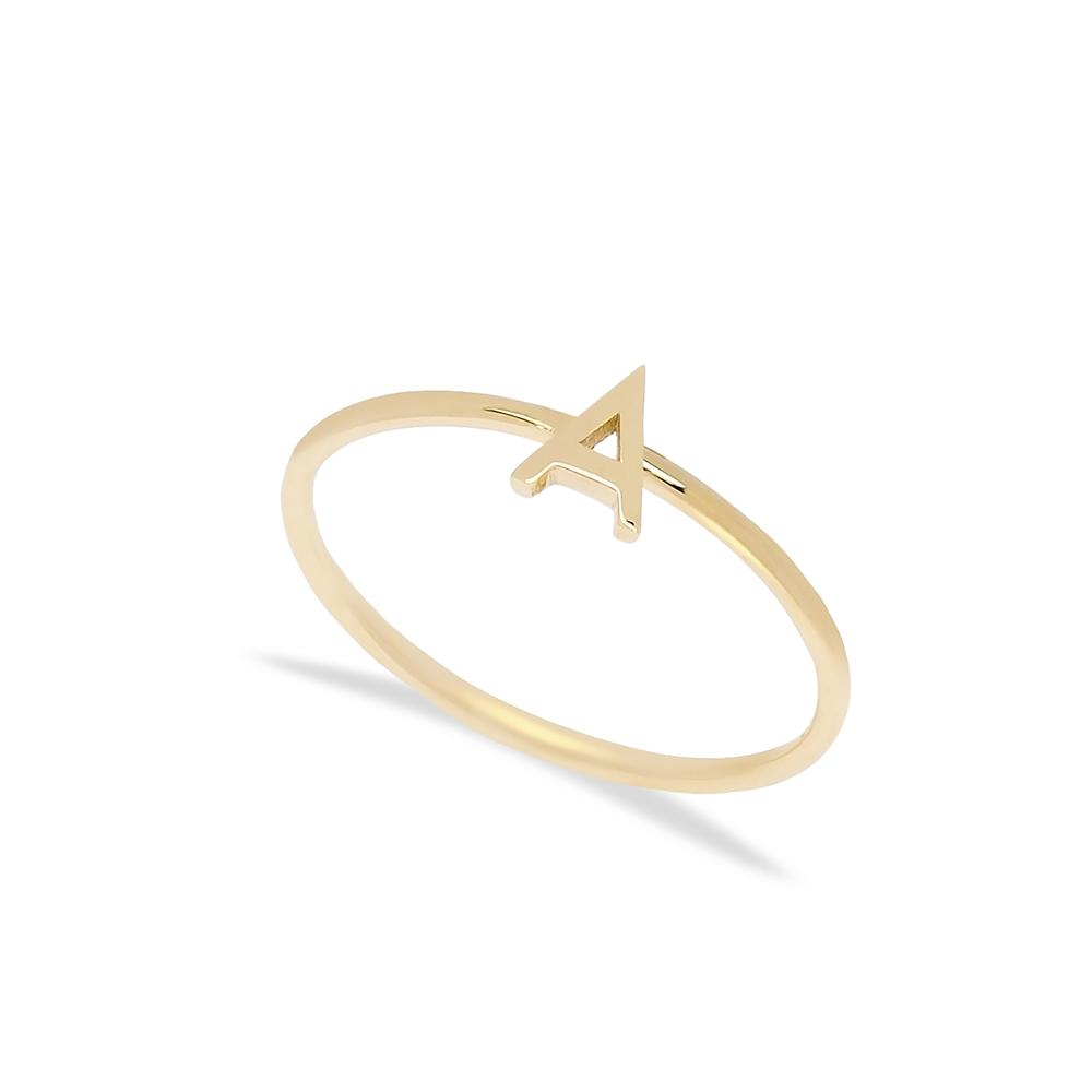 A Letter Ring 14 k Wholesale Handmade Turkish Gold Jewelry