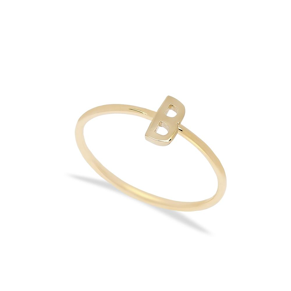 B Letter Ring 14 k Wholesale Handmade Turkish Gold Jewelry